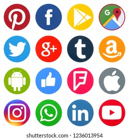 KIEV, UKRAINE -November 13, 2018: This is a photo collection of popular social media logos printed on paper: Facebook, Twitter, LinkedIn, Instagram, Tango, WhatsApp, Youtube, Line and other