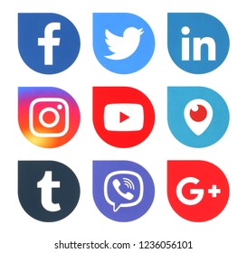 Kiev, Ukraine - November 13, 2018: Popular social media icons such as: Twitter, facebook, LinkedIn and others, printed on white paper.