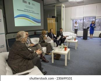 "KIEV, UKRAINE - November 14, 2014: In Kiev, an international conference Publick Forum ""Putting the"" U ""in EU""."