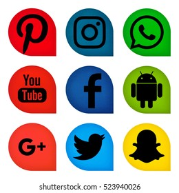 Kiev, Ukraine - November 14, 2016: Set of popular social media icons printed on paper: Twitter, Youtube, Pinterest, Instagram, Facebook,Google Plus, Snapchat, Android,WhatsApp.