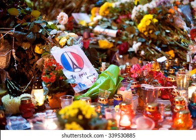 KIEV, UKRAINE - November 15, 2015: people brought flowers to the Embassy of France. mourning  for the victims of terrorist attacks  in Paris 13.11.2015