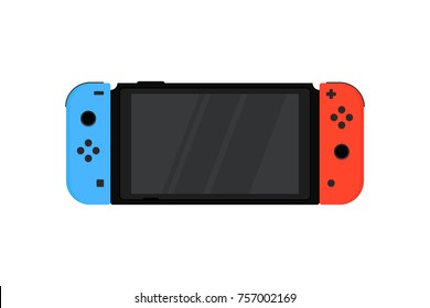 Kiev, Ukraine - November 15, 2017: Nintendo Switch with wireless controllers Joy-Con. Popular hybrid game console in flat design isolated on white background
