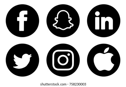 Kiev, Ukraine - November 15, 2017: Collection of popular social media logos printed on paper: Facebook, Twitter, Snapchat and others.