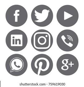 Kiev, Ukraine - November 15, 2017: Collection of popular social media logos printed on paper: Facebook, Twitter, Google Plus, Instagram, Pinterest, LinkedIn, YouTube and others.