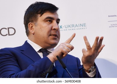 Kiev, Ukraine - NOVEMBER 16, 2015: Former Georgian President, now governor of Odessa region in Ukraine, Mikheil Saakashvili speaks during the international anti-corruption forum in Kiev.