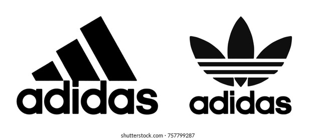 Kiev, Ukraine - November 16, 2017: Adidas logo printed on paper and placed on white background.