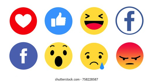 Kiev, Ukraine - November 16, 2017: New Facebook like button 6 Empathetic Emoji. Printed on paper. Facebook is an online social networking service.
