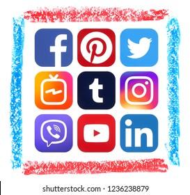 Kiev, Ukraine - November 16, 2018: Popular social media icons printed on paper with pastel hand drawn art frame: Facebook, Twitter, Instagram, LinkedIn, Pinterest, Youtube, Inatagram TV and others