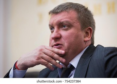 KIEV, UKRAINE - November 18, 2015: Justice Minister of Ukraine Pavlo Petrenko during a briefing in Kiev, Ukraine.