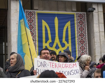 "KIEV, UKRAINE - November 2, 2014: In Kiev took action ""Donbass against terror and illegitimate elections.""  According to the organizers, in addition to the capital this action took place in 9 cities."