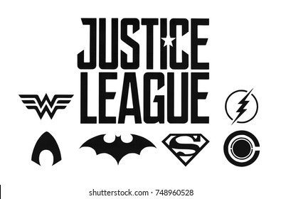 Kiev, Ukraine - November 2, 2017: Set of Justice League (DC comics) black logos printed on paper.