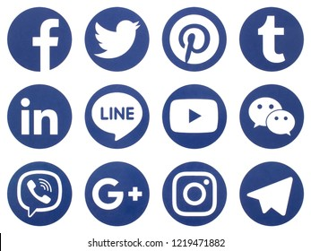 KIEV, UKRAINE - November 2,  2018: This is a photo collection of popular social media logos printed on paper: Facebook, Twitter, LinkedIn, Pinterest, Instagram, Youtube, Line and other