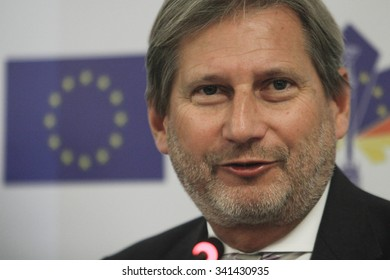 KIEV, UKRAINE - November. 20, 2015: The visit of the EU Commissioner for European Neighbourhood Policy and the negotiations on the expansion of Johannes Hahn to Ukraine
