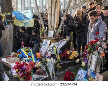 KIEV, UKRAINE - November 21, 2014: Relatives of victims on Euromaidan. -- Ukrainians celebrated the anniversary of Euromaidan