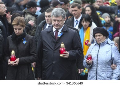 KIEV, UKRAINE - November. 21, 2015: Ukraine. Petro Poroshenko,Maria. The second anniversary of the protests on Independence Square in Kyiv