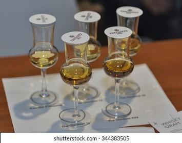 KIEV, UKRAINE - NOVEMBER 21, 2015: Whisky glasses for tasting closeup at corporate presentation of The Glenlivet Single Malt Scotch Whiskey at 1st Whisky Dram Festival in Parkovy Exhibition Center.