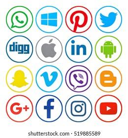Kiev, Ukraine - November 21, 2016: Set of popular social media icons printed on paper: Instagram, Facebook ,Google Plus, Android, Apple,  Blogger, Viber, Vimeo, Linkedin and others.