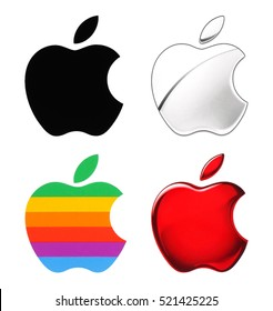 Kiev, Ukraine - November 21, 2016: Old and New Apple logotype printed on paper.Apple is an American multinational corporation, that designs, develops, and sells consumer electronics and computers.