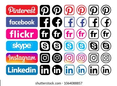 Kiev, Ukraine - November 22, 2017: Set of different colorful popular social media icons printed on white paper: Pinterest, Facebook, Flickr, Instagram, Skype, Linkedin.
