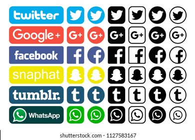 Kiev, Ukraine - November 22, 2017: Set of different colorful popular social media icons printed on white paper:Twitter, Google PLus,  Facebook, Snapchat, Tumblr, WhatsApp.
