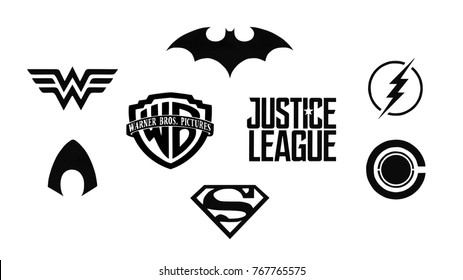 Kiev, Ukraine - November 22, 2017: Set of Justice League (DC comics) black logos printed on paper.