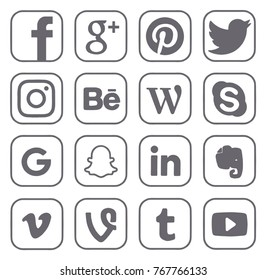 Kiev, Ukraine - November 22, 2017: Collection of popular social media logos printed on paper: Facebook, Twitter, Google, Instagram, Pinterest, LinkedIn and others.