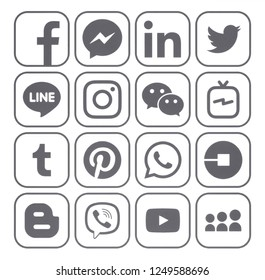 Kiev, Ukraine - November 22, 2018: Collection of popular gray social media icons printed on white paper: Facebook, Twitter, Instagram, Pinterest, LinkedIn, Blogger, Tumblr and others