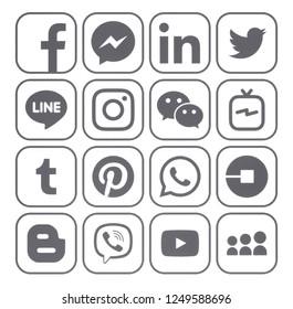 Kiev, Ukraine - November 22, 2018: Collection of popular gray social media icons printed on white paper: Facebook, Twitter, Instagram, Pinterest, LinkedIn, Blogger, Tumblr and others