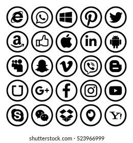 Kiev, Ukraine - November 24, 2016: Set of most popular social media icons printed on paper:Twitter, Pinterest, Instagram, Facebook, Blogger, WhatsApp,Viber, Vimeo, Linkedin, Skype, Snapchat and others