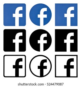 Kiev, Ukraine - November 24, 2016:Collection of facebook logos printed on white paper.Facebook is a popular social networking service.