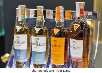 KIEV, UKRAINE - NOVEMBER 25, 2017: The Macallan Single Malt Scotch Whisky Highland distillery bottles on booth at 3rd Ukrainian Whisky Dram Festival in Parkovy Exhibition Center.