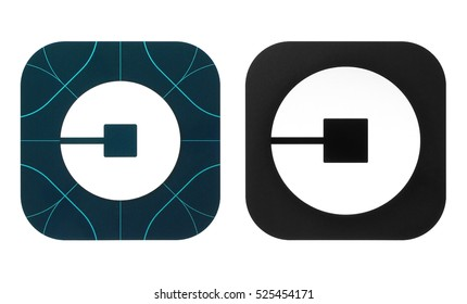 Kiev, Ukraine - November 26, 2016: Collection of popular old & new travel Uber icons printed on paper. Uber is an American worldwide online transportation network company.