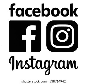 Kiev, Ukraine - November 26, 2016: Black Instagram and Facebook logos printed on white paper