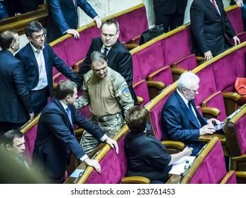 KIEV, UKRAINE - November 27, 2014: In the hall of Verkhovna Rada   of an unusually high number of people in uniform, is the newly elected deputies - the commanders of volunteer battalions