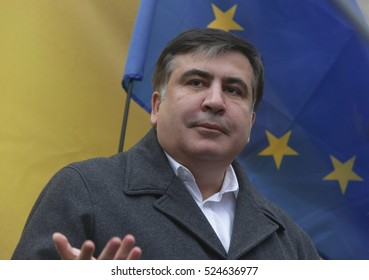 KIEV, UKRAINE - November 27, 2016: It has been meeting with Mikhail Saakashvili.He declared mistrust to the current composition of the Verkhovna Rada.