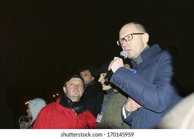 KIEV, UKRAINE - NOVEMBER 27: People protest at Maidan Nezalezhnosti Square (EuroMaidan) after Ukraine suspended talks with the EU on association, November 27, 2013, Kiev