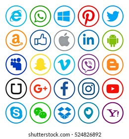 Kiev, Ukraine - November 28, 2016: Set of most popular social media icons printed on paper:Twitter, Pinterest, Instagram, Facebook, Blogger, WhatsApp,Viber, Vimeo, Linkedin, Skype, Snapchat and others