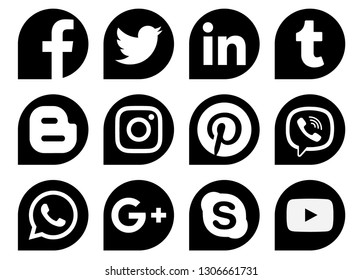 Kiev, Ukraine - November 28, 2018: Popular social media black drops icons printed on paper: Facebook, Twitter, Instagram, Pinterest, LinkedIn, Viber, Tumblr and others