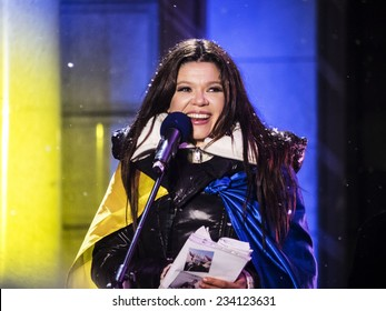 "KIEV, UKRAINE - November 29, 2014: Social activist and winner of Eurovision singer Ruslana. -- At the Independence Square in Kiev, an action called ""The Night of memory"""