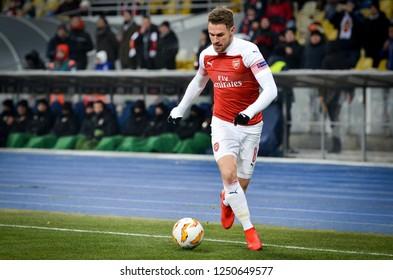 KIEV, UKRAINE - November 29, 2018: Aaron Ramsey during the UEFA Europa League match between Vorskla Poltava vs FC Arsenal (England), Ukraine