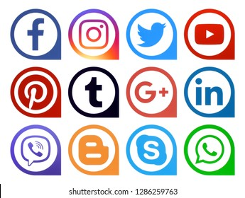 Kiev, Ukraine - November 29, 2018: Popular social media icons pointers printed on paper: Facebook, Twitter, Instagram, Pinterest, LinkedIn, Viber, Tumblr and others