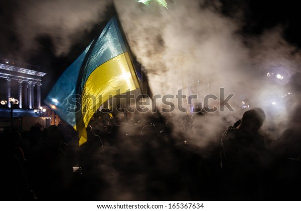 KIEV, UKRAINE - NOVEMBER 29: Pro-Europe protest in Kiev on november 29, 2013, Kiev, Ukraine