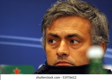 KIEV, UKRAINE - NOVEMBER 3: The head coach of FC Interazionale Milano Jose Mourinho looks on during a press conference before UEFA CL game against FC Dynamo Kyiv on November 3, 2009 in Kiev