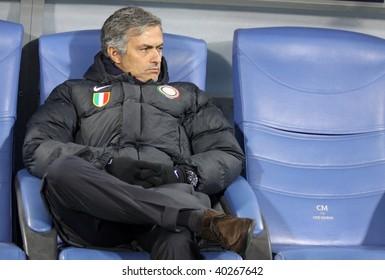 KIEV, UKRAINE - NOVEMBER 4: The head coach of FC Interazionale Milano Jose Mourinho looks on during UEFA Champions League football match against Dynamo Kiev on Nov 4, 2009 in Kiev