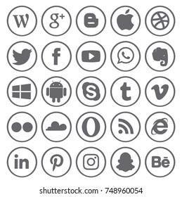 Kiev, Ukraine - November 5, 2017: Collection of popular social media logos printed on paper: Facebook, Twitter, Google Plus, Instagram, Pinterest, LinkedIn, YouTube and others.
