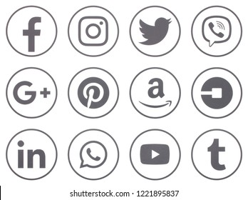 KIEV, UKRAINE - November 5  2018: This is a photo collection of popular social media logos printed on paper: Facebook, Twitter, LinkedIn, Pinterest, Instagram, Youtube, Line and other