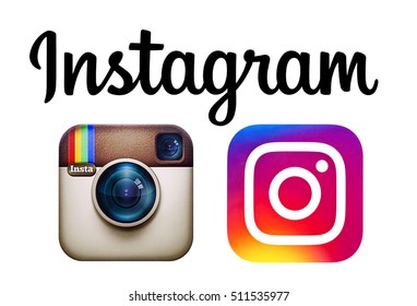 Kiev, Ukraine - November 6, 2016: Instagram and new Instagram logos printed on paper. Instagram is an online service that enables its users to share pictures and videos on social networking platforms.