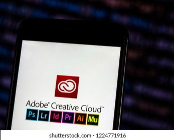 KIEV, UKRAINE - November 6, 2018: Adobe Creative Cloud logo seen displayed on smart phone. Adobe Creative Cloud is a set of applications and services from Adobe Systems