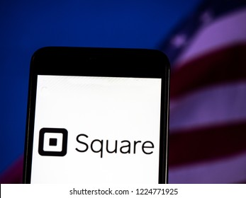 KIEV, UKRAINE - November 6, 2018: Square, Inc. logo seen displayed on smart phone. Square, Inc. is a financial services, merchant services aggregator, and mobile payment company.