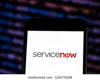 KIEV, UKRAINE - November 6, 2018: ServiceNow Computer software company logo seen displayed on smart phone. ServiceNow, Inc. is an American cloud computing company, Santa Clara, California.